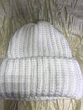 Женская шапка тройной отворот  54-58 цвет т.синий и карамель, фото 3