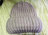 Женская шапка тройной отворот  54-58 цвет т.синий и карамель, фото 4