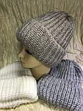 Женская шапка тройной отворот  54-58 цвет т.синий и карамель, фото 5