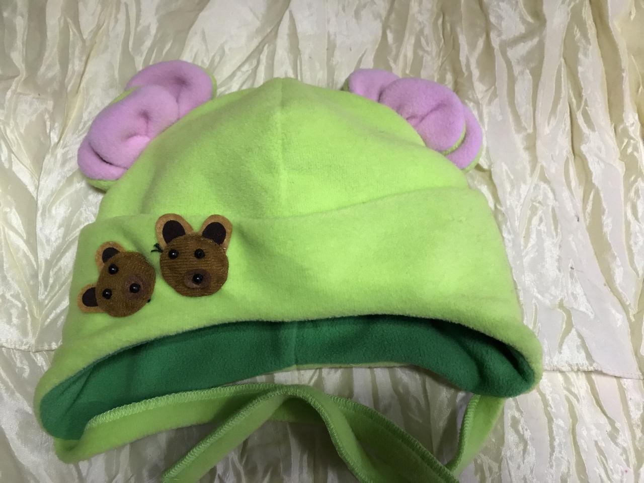 Детская салатовая шапочка с розовыми ушками от пол года до 2 лет