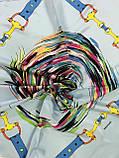 Платок шейный с добавкой  натур шёлка светло серый и мята с рисунком, фото 2