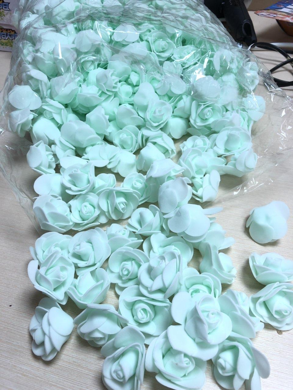 Розы из латекса, бирюзовый (ФОМ, FOAM) 500 шт пачка (для мишек)
