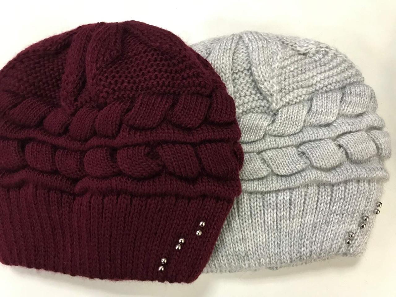Бордовая и светло-серая шапка крупной вязки на флисе 54-58 см