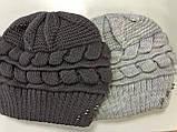 Бордовая и светло-серая шапка крупной вязки на флисе 54-58 см, фото 3