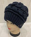 Бордовая и светло-серая шапка крупной вязки на флисе 54-58 см, фото 5