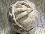 Шапка двухцветная  ангорка бежевая с коричневым, фото 2