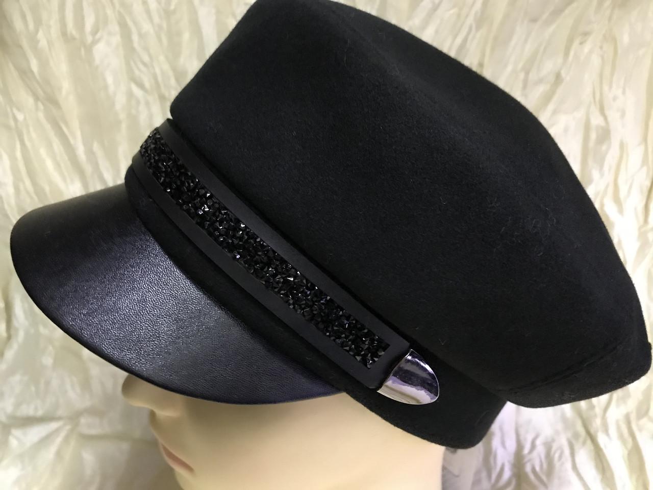 Картуз кепка женская с хлястиком из камней чёрная