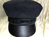 Картуз кепка женская с хлястиком из камней чёрная, фото 4