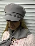 Картуз кепка женская с хлястиком из камней чёрная, фото 6