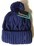 Мужская шапка с отворотом с рисунком цвет синий   и бордовый, фото 3