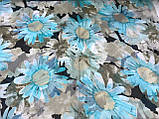 Женский шарф-палантин шифон  174х75 см  с голубыми ромашками, фото 2