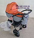 Детская коляска 2 в 1 Classik (Классик) Victoria Gold эко кожа серый с рыжим, фото 3