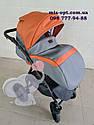 Детская коляска 2 в 1 Classik (Классик) Victoria Gold эко кожа серый с рыжим, фото 4