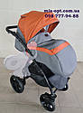 Детская коляска 2 в 1 Classik (Классик) Victoria Gold эко кожа серый с рыжим, фото 7