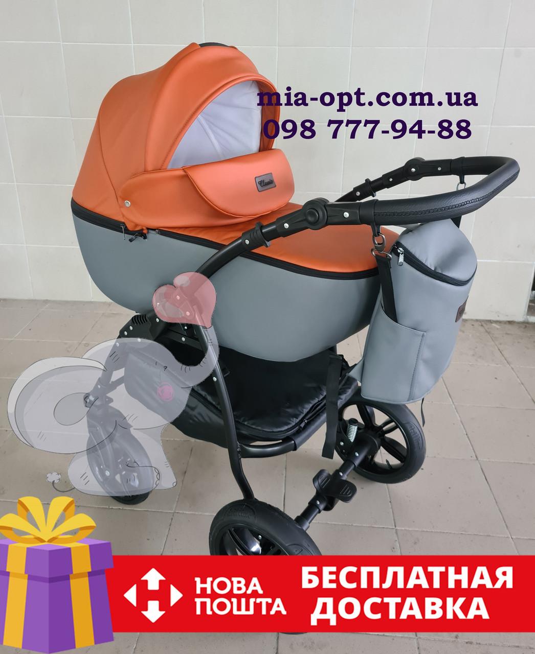 Детская коляска 2 в 1 Classik (Классик) Victoria Gold эко кожа серый с рыжим