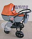 Детская коляска 2 в 1 Classik (Классик) Victoria Gold эко кожа серый с рыжим, фото 2