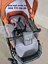 Детская коляска 2 в 1 Classik (Классик) Victoria Gold эко кожа серый с рыжим, фото 6