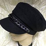 Женский картуз кепка Ника цепь из драпа с хлястиком разные цвета, фото 3