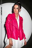 Новинка куртка з еко-шкіри : S, M, L. колір малиновий, бузковий жовтий і чорний, фото 2