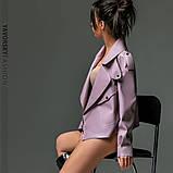 Новинка куртка из эко-кожи : S, M, L. цвет малиновый сиреневый желтый и черный, фото 4