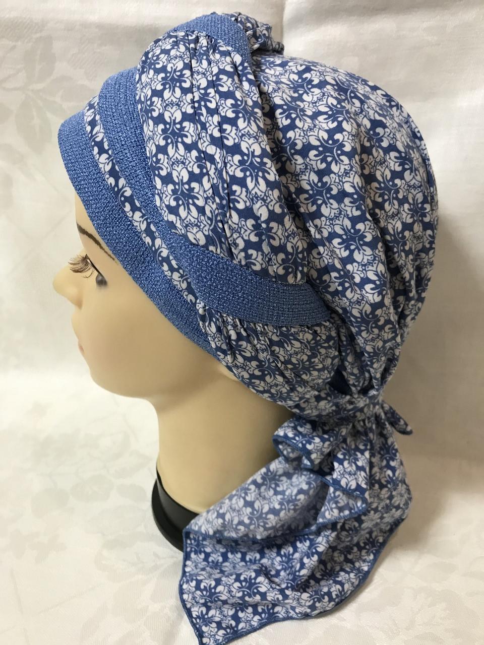 Летняя голубая бандана-шапка-косынка-тюрбан-чалма хлопковая с объёмной драпировкой Синий