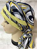 Летняя бандана-шапка-косынка-тюрбан  с объёмной драпировкой сине-жёлтого цвета разноцветные, фото 2