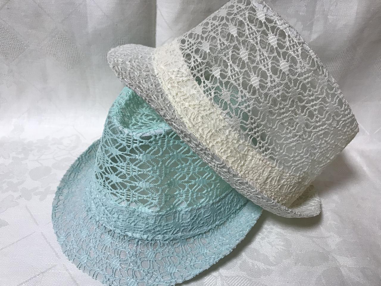 Женская шляпа федора под мужской стиль цвет мята и молочный