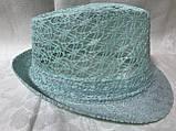 Женская шляпа федора под мужской стиль цвет мята и молочный, фото 2