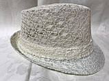 Женская шляпа федора под мужской стиль цвет мята и молочный, фото 3