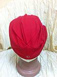 Шапочка з нахилом для дівчинки оздоблена малюнком колір - червоний, фото 2