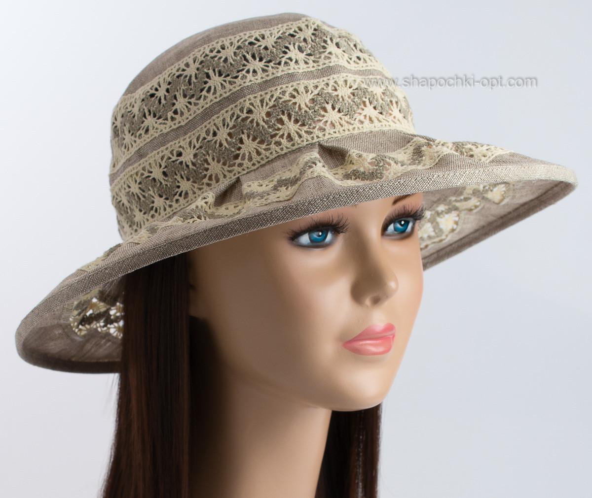 Летняя  шляпа из льна с кружевом размер 56-58 поле 8 см темно бежевый