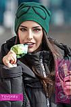 Супер шапка однотонная с съёмными очками: синяя  ,зелёная, фото 4