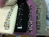 Женская шапочка украшенная камнями цвет  бежевый, фото 3