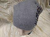 Женская шапочка украшенная камнями цвет  бежевый, фото 5