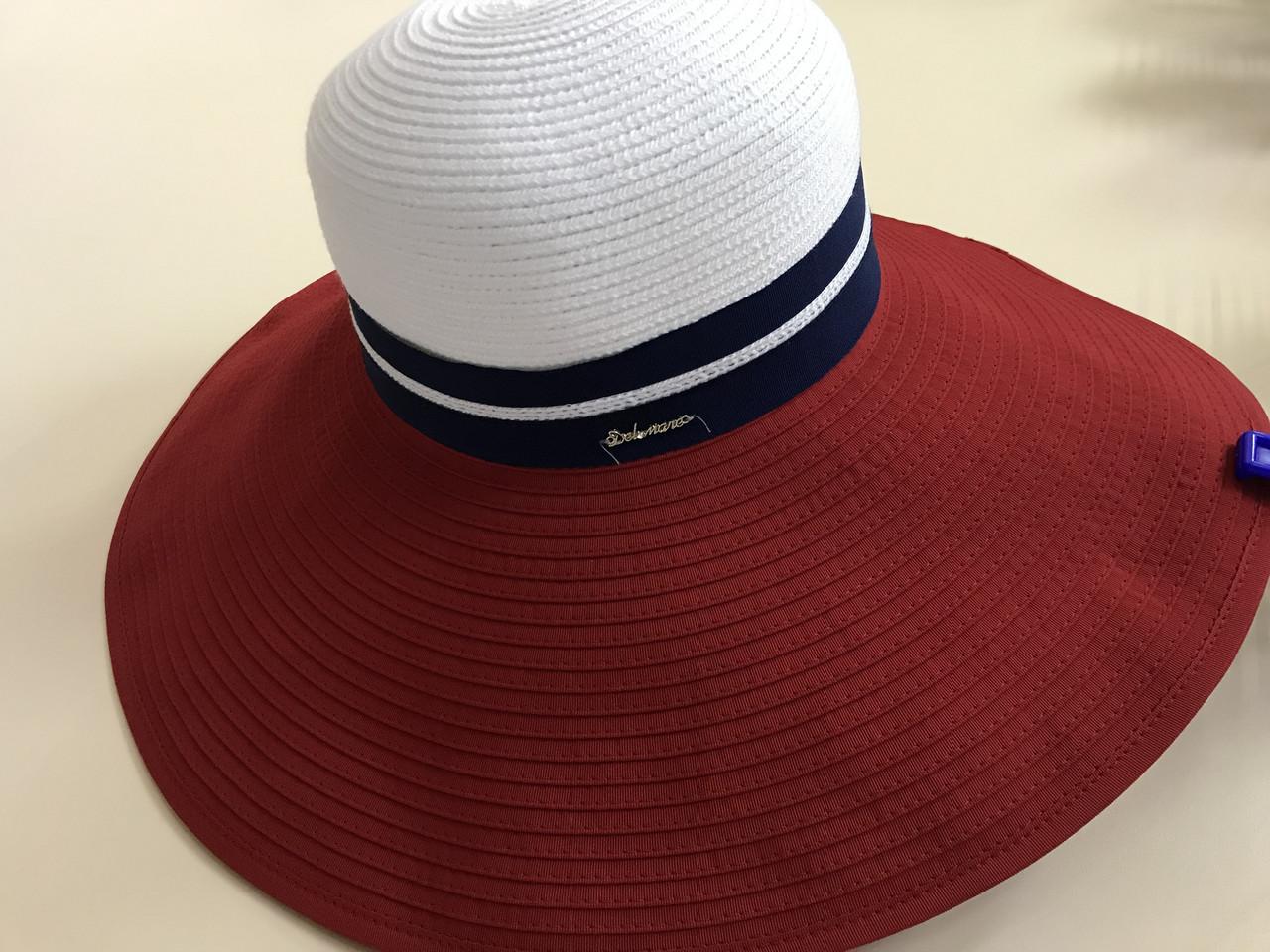 Женская шляпа широкополая с моделируемыми полями верх белый поле красное