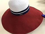 Женская шляпа широкополая с моделируемыми полями верх белый поле красное, фото 3