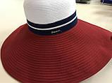 Женская шляпа широкополая с моделируемыми полями верх белый поле красное, фото 5