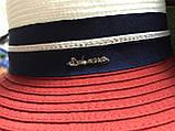 Женская шляпа широкополая с моделируемыми полями верх белый поле красное, фото 6