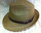 Шляпа летняя мужская коричневая с ремешком и лентой, фото 2