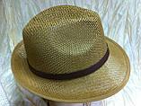 Шляпа летняя мужская коричневая с ремешком и лентой, фото 3