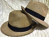 Шляпа летняя мужская коричневая с ремешком и лентой, фото 4