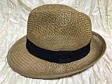 Шляпа летняя мужская коричневая с ремешком и лентой, фото 6