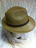 Шляпа летняя мужская коричневая с ремешком и лентой, фото 7