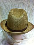 Шляпа летняя мужская коричневая с ремешком и лентой, фото 8