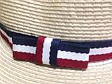 Шляпа бежевая мужского стиля с трёхцветной  лентой, фото 2