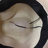 Шляпа бежевая мужского стиля с трёхцветной  лентой, фото 3