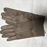 Женские перчатки эко замша на флисе с сенсором для телефона, фото 5