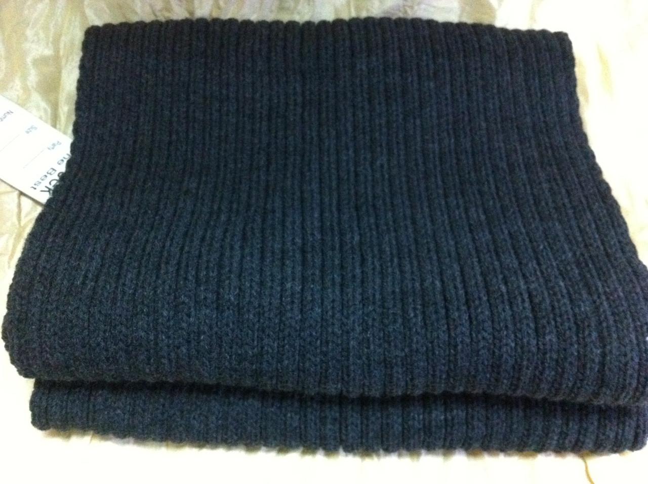 Тёплый вязаный шарф цвет графит серый синий бордовый 160*24