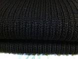 Тёплый вязаный шарф цвет графит серый синий бордовый 160*24, фото 2