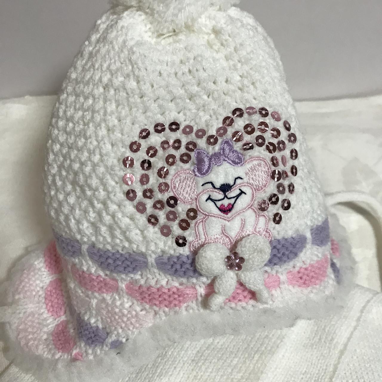 Комплект - дитяча шапочка + шарф в'язаний на підкладці з бубоном